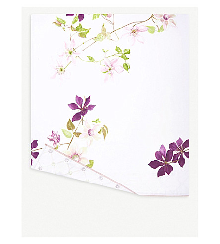 YVES DELORME Clematis floral-print cotton super king flat sheet (Multi