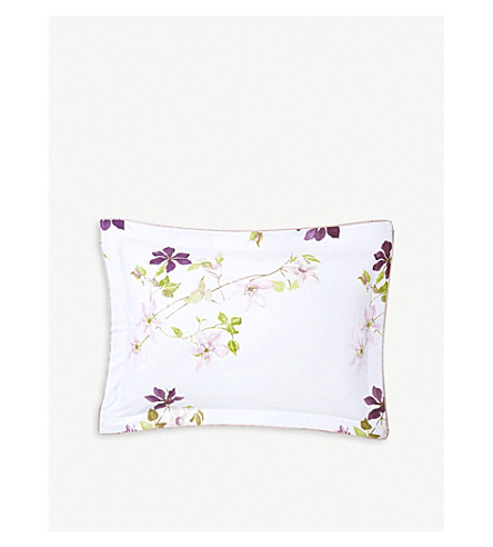 YVES DELORME Clematis silk and cotton-blend pillow case 50cm x 75cm (Multi