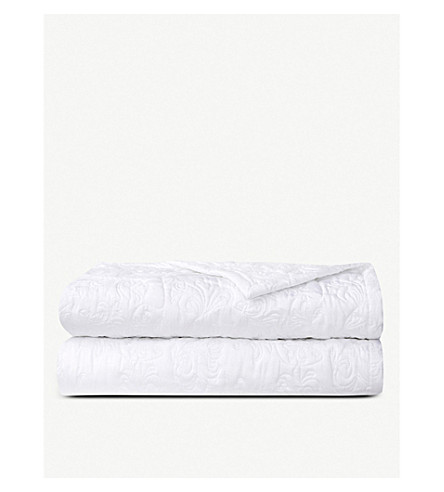 YVES DELORME Nymphe cotton bedcover throw 230 x 250 cm (White