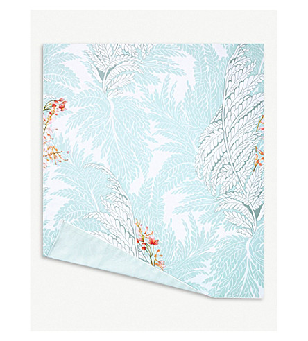 YVES DELORME Sources printed cotton super king flat sheet (Multi