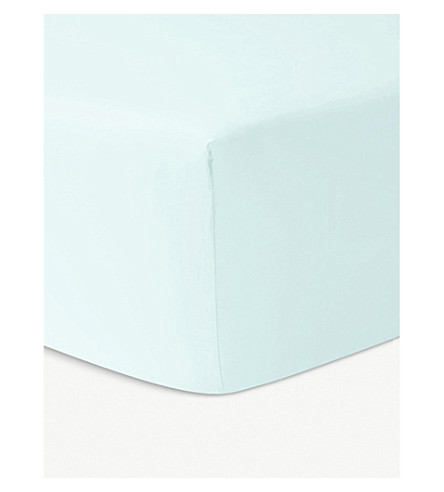 YVES DELORME Triomphe cotton single fitted sheet (Aqua