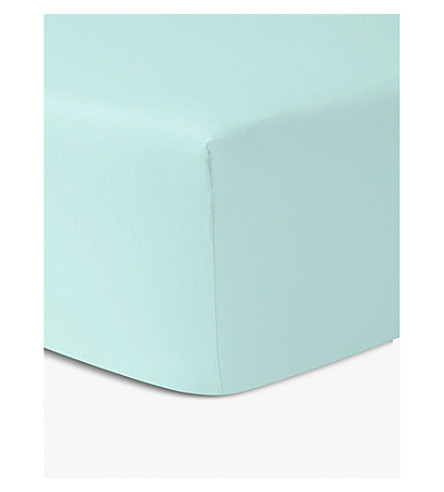 YVES DELORME Triomphe Celadon cotton single fitted sheet (Celadon