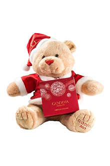 GODIVA Christmas bear and four-piece chocolate gift box