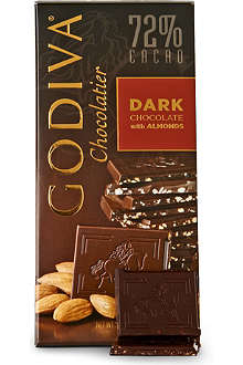 GODIVA Dark chocolate and almond block 100g
