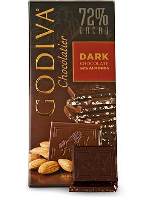 GODIVA Dark chocolate and almond block 100g
