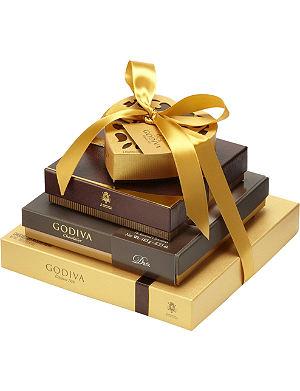 GODIVA Gold Ballotin 34-piece assorted chocolates box 385g