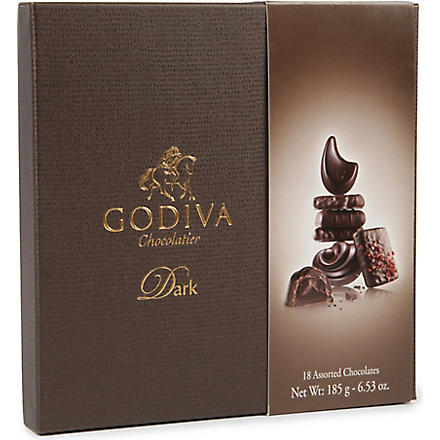 GODIVA Connoisseur 18-piece assorted dark chocolates box 185g