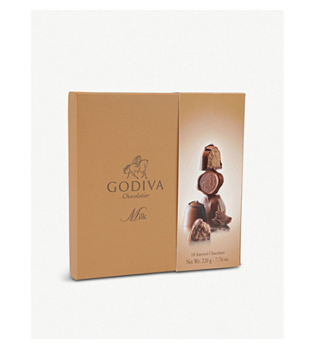 GODIVA Connoisseur 18-piece assorted milk chocolates box 220g