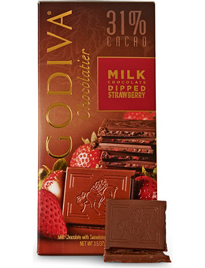 GODIVA Milk chocolate and strawberry block 100g
