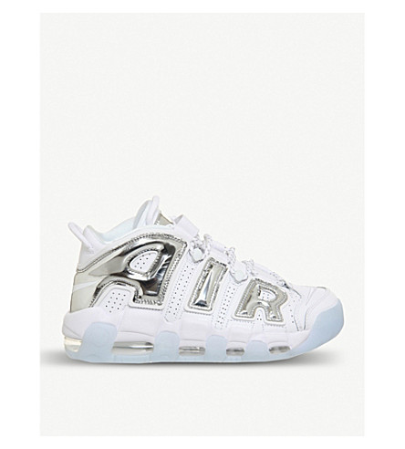 NIKE Air More Up Tempo leather trainers (White+chrome+blue