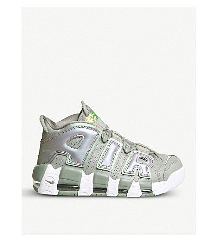 NIKE Air More Up Tempo leather and mesh trainers (Dark+stucco+white