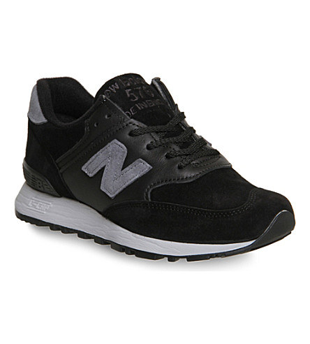 NEW BALANCE 576 suede and leather trainers (Black grey uk