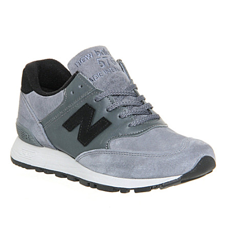 NEW BALANCE 576 suede and leather trainers (Grey black uk