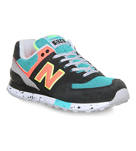 NEW BALANCE 574 leather trainers (Teal navy neon outdo