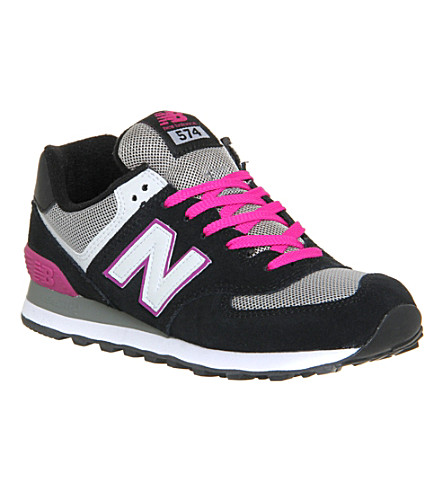 NEW BALANCE WL574 suede and mesh trainers (Black grey berry