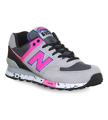 NEW BALANCE 574 leather trainers (Grey neon outdoor
