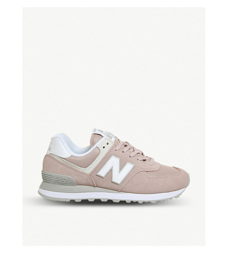 NEW BALANCE 574 suede and mesh trainers (Pink