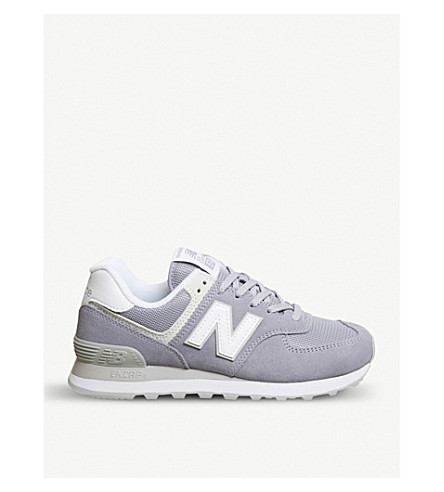 NEW BALANCE 574 suede and mesh trainers (Violet