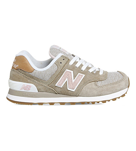 NEW BALANCE 574 panelled suede trainers (Beige pink beach