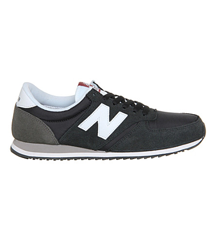 NEW BALANCE 420 suede and mesh trainers (Black+white