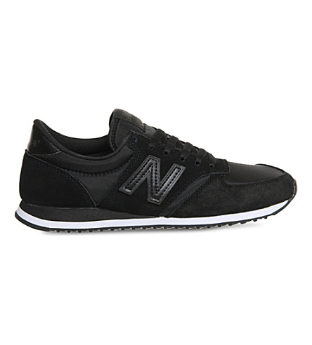 NEW BALANCE 420 suede and mesh trainers (Black+black