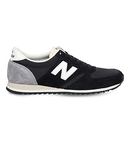 NEW BALANCE U420 suede and mesh trainers (New+black+white