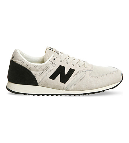 NEW BALANCE 420 suede and mesh trainers (Grey/black