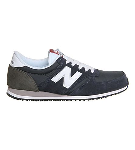 NEW BALANCE 420 suede and mesh trainers (Navy+white