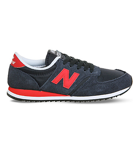 NEW BALANCE 420 suede and mesh trainers (Navy+red
