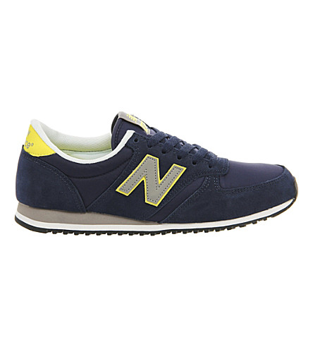 NEW BALANCE 420 suede trainers (Navy yellow grey