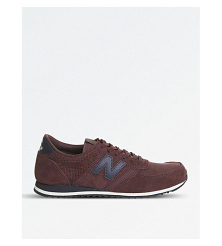 NEW BALANCE U420 suede and mesh trainers (Burgundy+navy