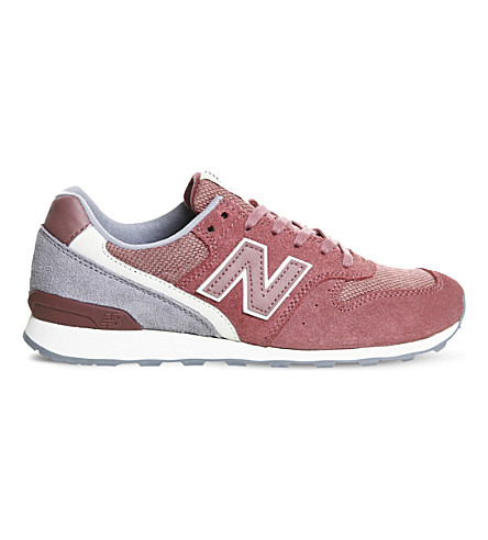 NEW BALANCE 996 low-top suede and mesh trainers (Red+beige
