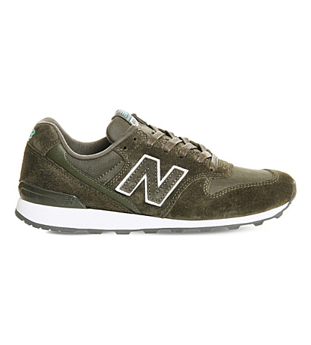 NEW BALANCE 996 low-top suede and mesh trainers (Khaki+white