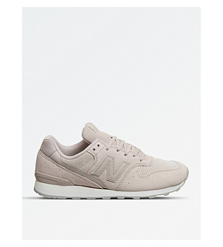 NEW BALANCE 996 low-top suede and mesh trainers (Pink