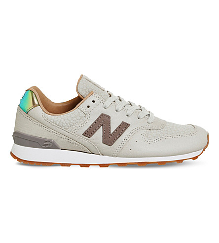 NEW BALANCE 996 metallic-trim leather trainers (Powder+crescent