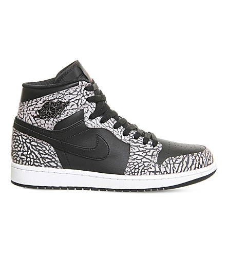 NIKE Jordan 1 og leather high-top trainers (Black red cement