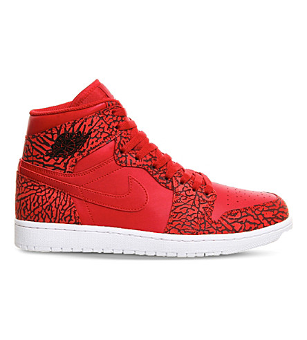 NIKE Air Jordan 1 og leather high-top trainers (Red white
