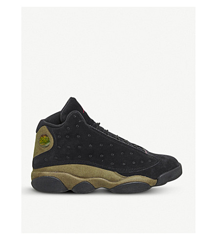 NIKE Jordan 13 Retro suede trainers (Black+gym+red+olive