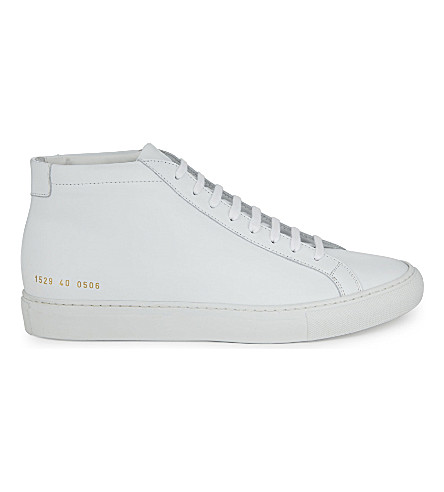 COMMON PROJECTS Original Achilles leather mid-top trainers (White+mono