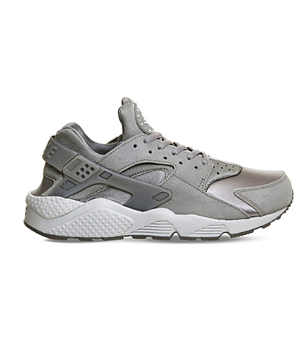 NIKE Air Huarache leather and neoprene sneakers (Grey off white