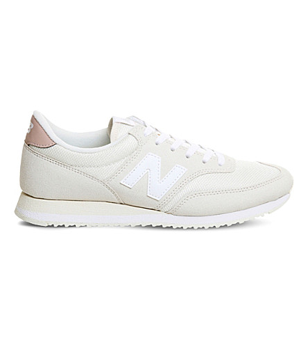 NEW BALANCE 620 suede and mesh sneakers (Cream+pink