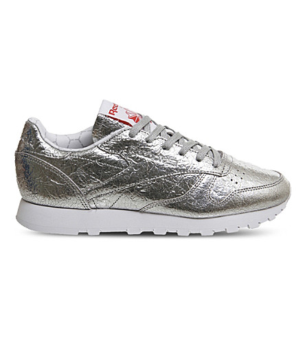 REEBOK Classic metallic leather trainers (Silver+metallic+foil
