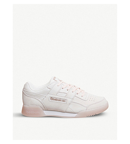 REEBOK Workout Plus nubuck-leather trainers (Pale+pink+rose+gold