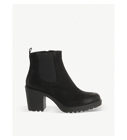 VAGABOND Grace heeled leather chelsea boot (Black+nubuck