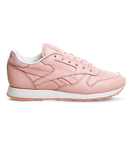 REEBOK Classic lace-up leather trainers (Face pink