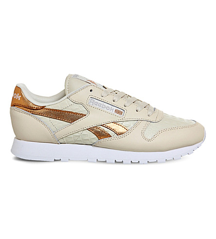REEBOK Classic lizard-embossed leather trainers (Cream rose gold croc