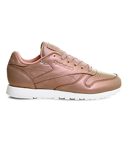 REEBOK Classic pearlised leather trainers (Rose+gold+pearlised