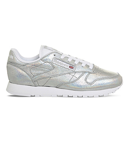 REEBOK Classic metallic-leather trainers (Silver+glitter