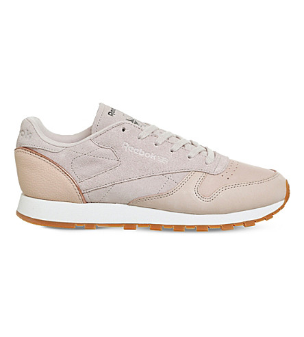 REEBOK Classic lace-up leather and suede trainers