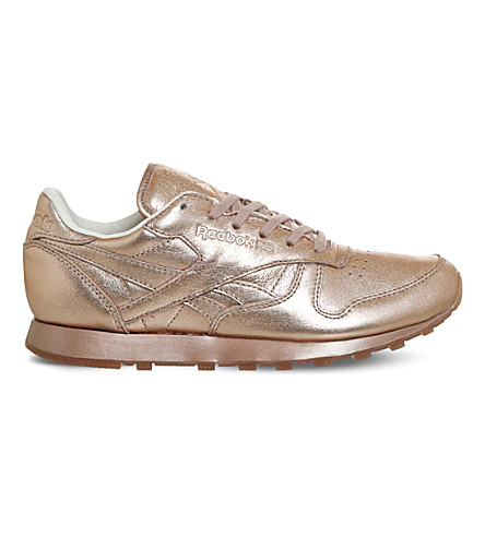REEBOK Classic metallic-leather trainers (Rose+gold+metallic